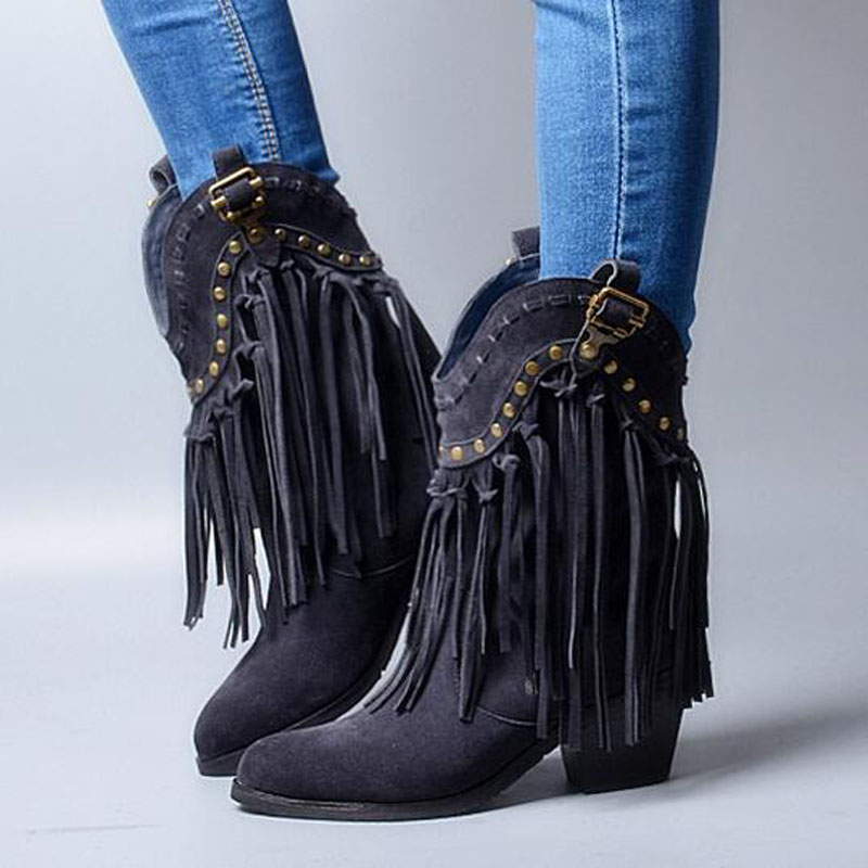 цены Promotion Vintage Round Toe Mid Heel Booties Mujer Fringe Embellished Ankle Cowboy Boots Party Vocation Dress Shoes Women