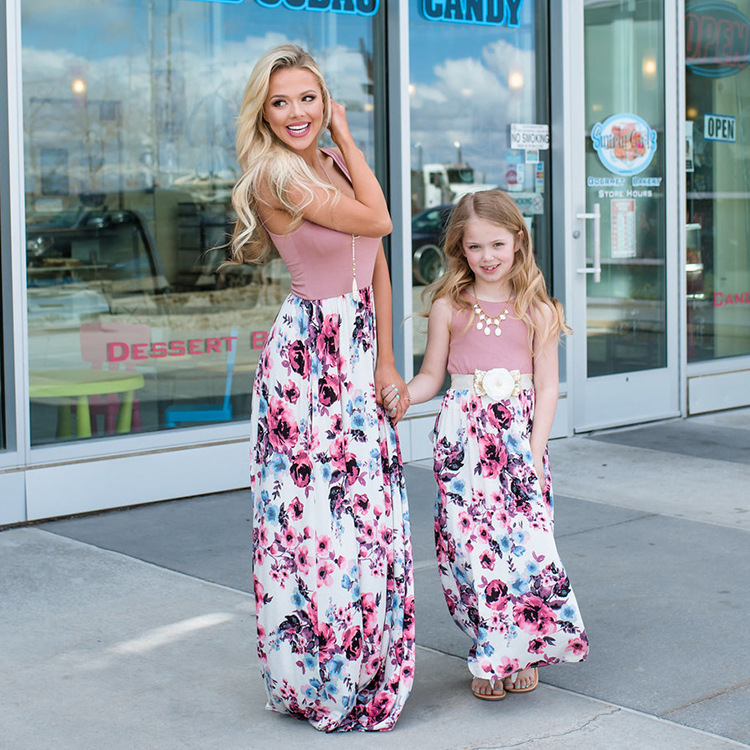 Flower Mum and daughter dress Mother daughter Clothes family matching dress sleeveless printed mommy and me dresses Family look telle mère telle fille vetement