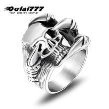 oulai777 stainless steel wholesale skull demon Domineering dragon claw gothic silver mens rings jewelry men male punk Retro 2019