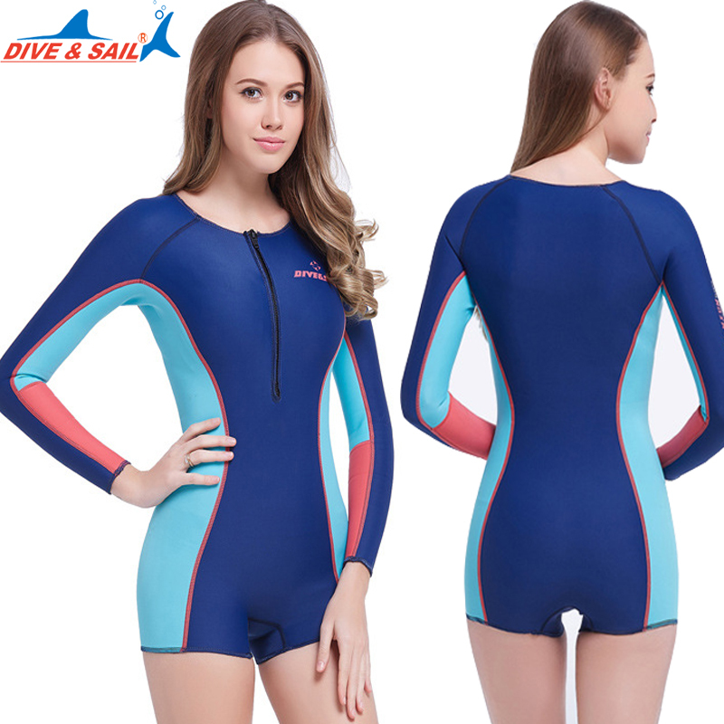 Dive&Sail 1.5mm Long Sleeve Swimsuit Siamese Wetsuit for ladies women surfing rash guard keepwarm swimming costume diving suit lifurious wetsuits women surfing neoprene surf swimsuit wetsuit for swimming women pink swimwear surfing diving suit long sleeve