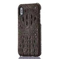 עור אמיתי יוקרה האחרונה יוקרה טלפון סלולרי מקרה עבור iphone X 3D דפוס עור תנין קשיח מעטפת כיסוי עבור iphone X JS0142