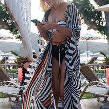 NODELAY 2019 Summer Zebra Stripe Bikini Cover Up Loose Beach Dress Women Pareo Long Chiffon Cardigan Beach Kaftan Robe de Plage(China)
