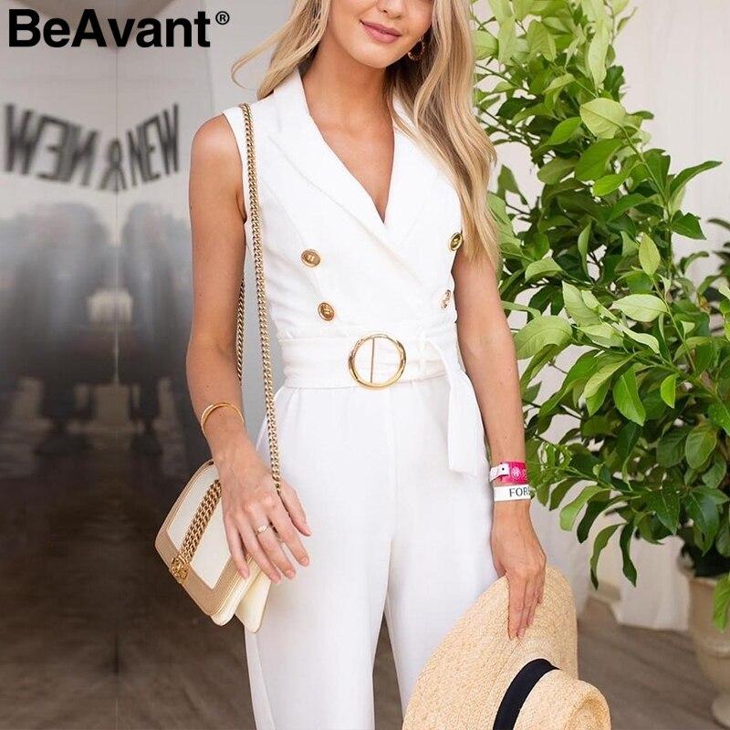 BeAvant Elegant double breasted women   jumpsuit   V-neck striped sash ladies   jumpsuits   romper Sleeveless casual wide leg overalls