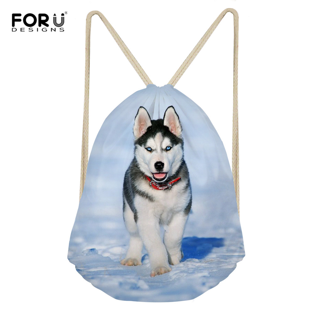 FORUDESIGNS Funny Husky Dog Women Drawstring Bag Travel Softback Women Mochila School Student Daily Backpack Custom Bag