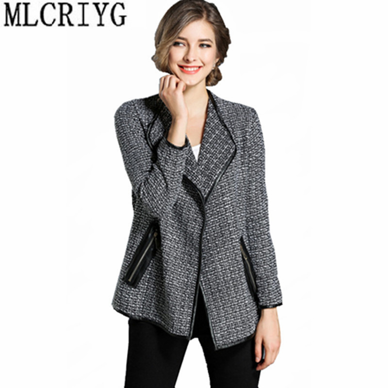 MLCRIYG 2019 Spring Autumn Short Loose Coat Female   Jacket   England Style Plaid   Basic     Jackets   For Women jaqueta feminina YQ013