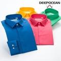 DEEPOCEAN мужчины рубашку camisa masculina длинным рукавом бренд одежда мужская рубашка рубашки молодые camisa социальной 100% хлопок 2016 Осень