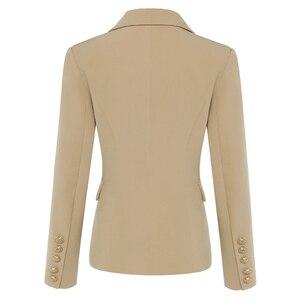 Image 2 - En kaliteli yeni şık 2020 klasik tasarımcı Blazer kadın kruvaze Metal aslan düğme Blazer ceket dış giyim haki