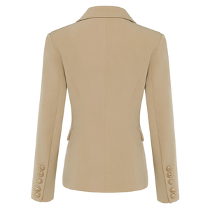 Image 2 - TOP QUALITY New Stylish 2020 Classic Designer Blazer Womens Double Breasted Metal Lion Buttons Blazer Jacket Outer Wear Khaki