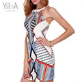 Yilia 2016 new casual mulheres bohemian dress impressão impresso bodycon bandage mangas mini lápis vestidos sexy vestidos de festa