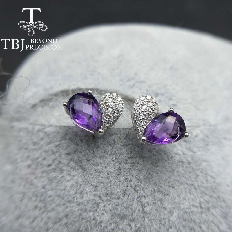 все цены на TBJ,925 silver earring with natural amethyst brio cut pe5*7 1.5ct,nautral garnet earring for women with gift box ,free shipping онлайн