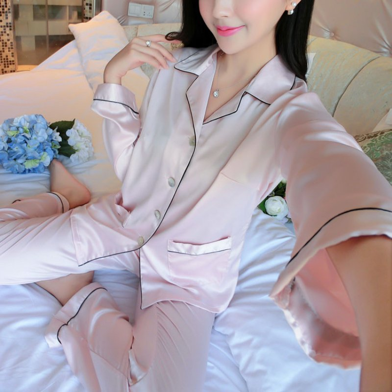 Ladies Winter Warm Sexy Long Sleeve Satin Pajamas Tops Pants Sleepwear Nightwear Loungewear ...