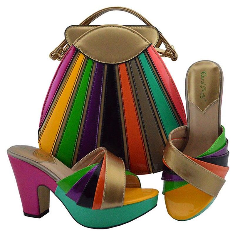 d4dc90a94853b9 spring Chaussures Pour Africains Md008 Partie DBleu Ensemble Sandales De  Mode Italien Et À gold silver dark Correspondre lime fuchsia Sacs ...