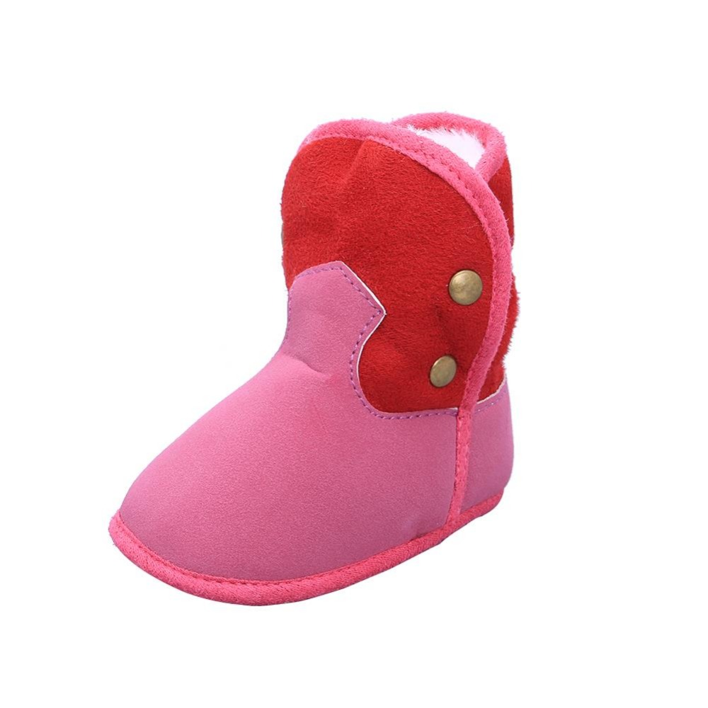 Ephex 2017 New Fashion Newborn Kids Shoes Patwork Warm Infant Toddle shoes Elastic First Walkers Soft soled Winter Snow Boots