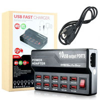 Uniwersalny 10 USB Port US UE Podłącz ZASILACZ sieciowy Travel Adapter gniazdo Inteligentne Ściany Stacja Ładowarka Do Telefonu Tablet Aparat Telefon komórkowy