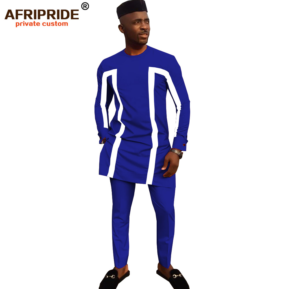 2019 African Traditional Clothing For Men 3 Piece Set Solid Dashiki Tops+ankara Pants +hat Print Bazin Riche AFRIPRIDE A1916003