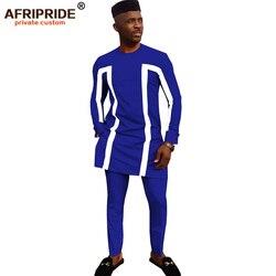 2019 afrikaanse traditionele kleding voor mannen 3 delige set effen dashiki tops + ankara broek + hoed print bazin riche AFRIPRIDE A1916003