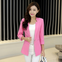 2016 Spring New Hihg Quality Design Women Jacket Casual Blazer Slim Suit 3 4 Sleeves Lapel