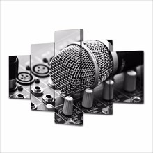 5 Panel Modern 3D Microphone Art DJ Music Room, Home Wall Painting on Canvas