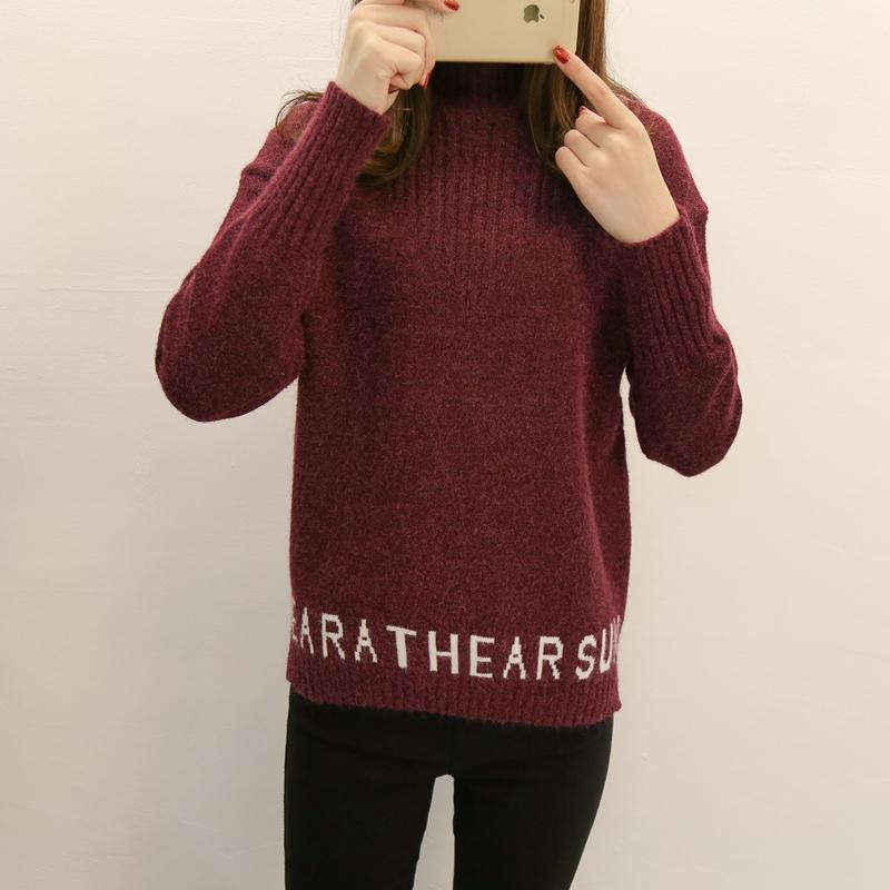 Korean Ladies Sweater High Collar Pullover Sweater Women New Autumn Winter Short Loose Long Sleeve Female Knitted Sweater NO346