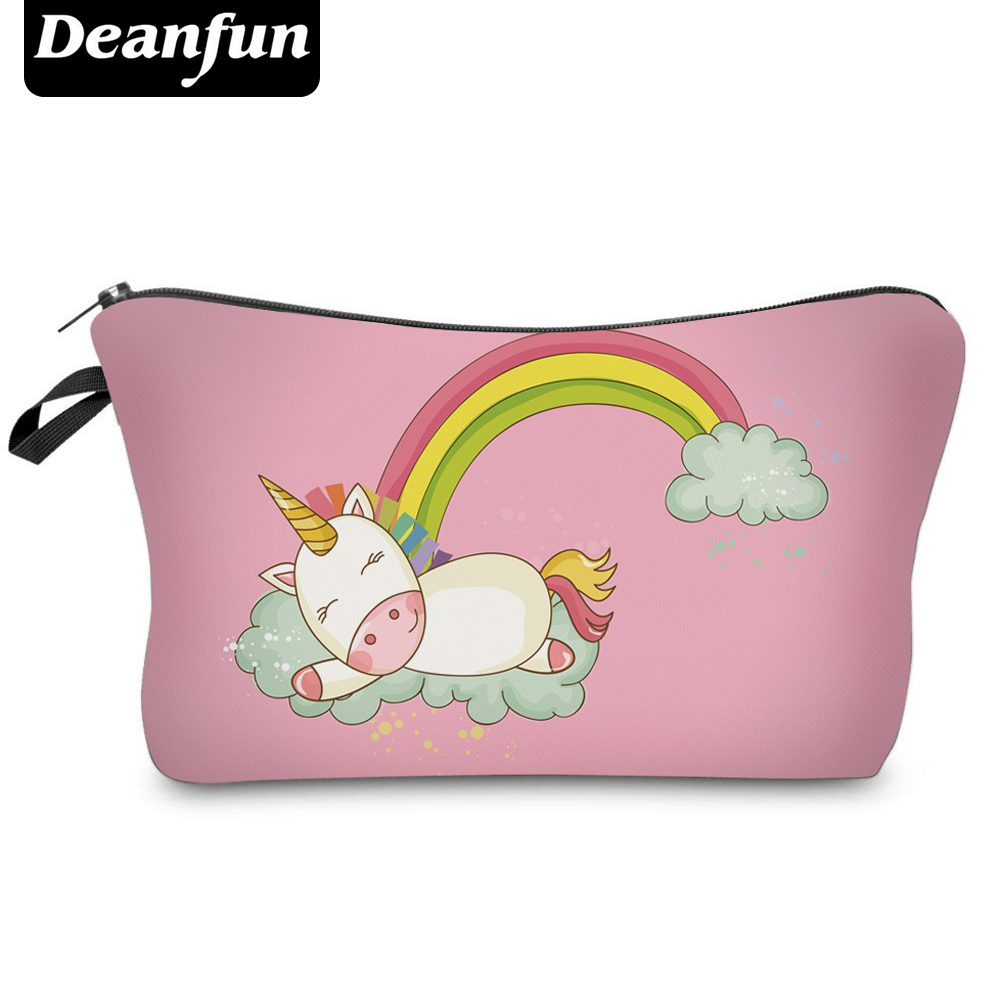 Deanfun Fashion Brand Unicorn Cosmetic Bags 2017 New Fashion 3D Printed Women Travel Makeup Case H87 deanfun travel cosmetic bag 2016 hot selling women brand small makeup case 3d printing christmas gift water pig h46