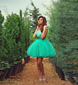 Sexy Green Turquoise Short Prom Dresses Cheap Cap Sleeve Lace Tulle Homecoming Dress 2015 Vestido Debutante Girl Party Dress