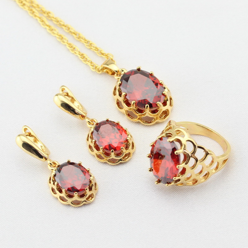 WPAITKYS Red Created Garnet CZ Gold Color Wedding Jewelry Sets For Women Drop Earrings Necklace Pendant Rings Free Gift Box orange morganite stylish jewelry set for women white zircon gold color rings earrings necklace pendant bracelets