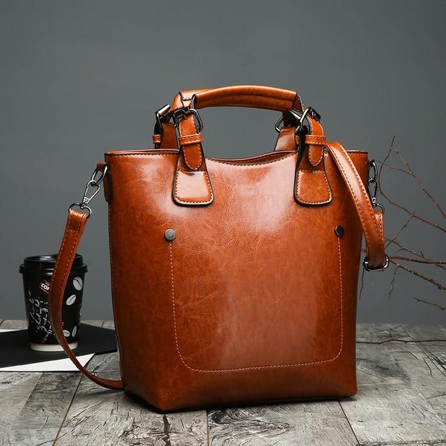 Hot Sale Women Casual Handbags High Quality Oil Wax Leather Female Shoulder  Bag Designer Ladies Vintage Crossbody Bags Big Tote 3032ffb2a4bd0
