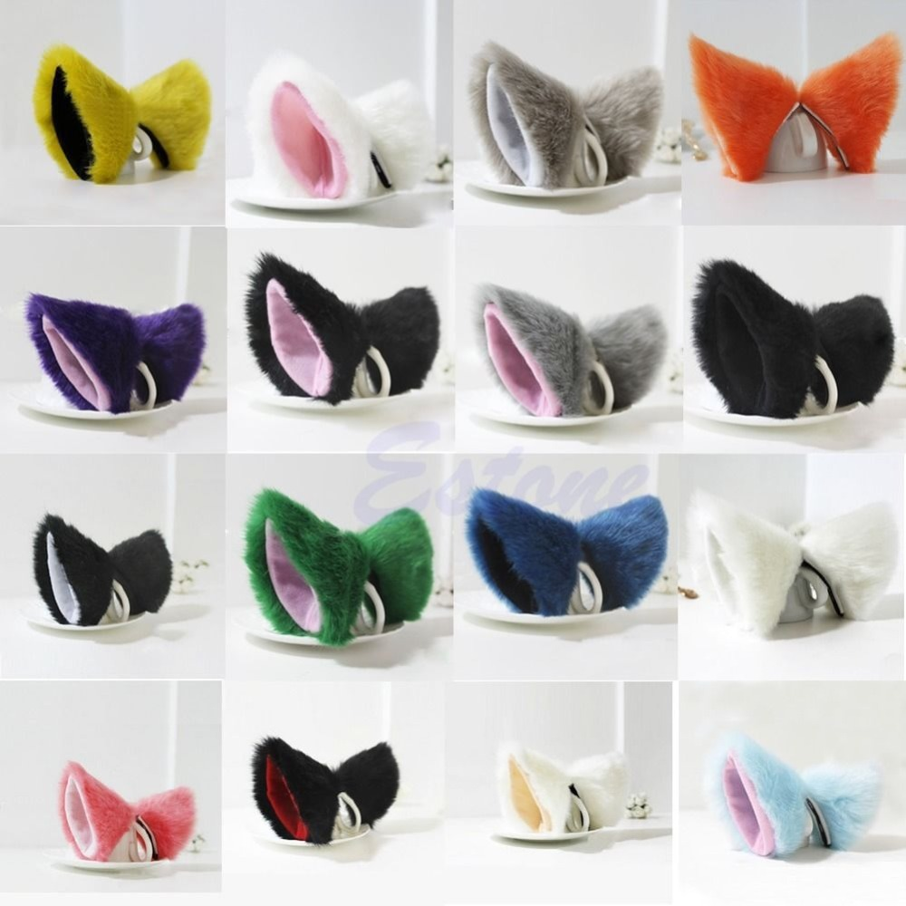 Cosplay Party Cat Fox Long Fur Ears Neko Costume Hair Clip Halloween Orecchiette-Y103 fluffy cosplay halloween party cat faux fox fur ears costume hairpin hairband black white purple leopard black