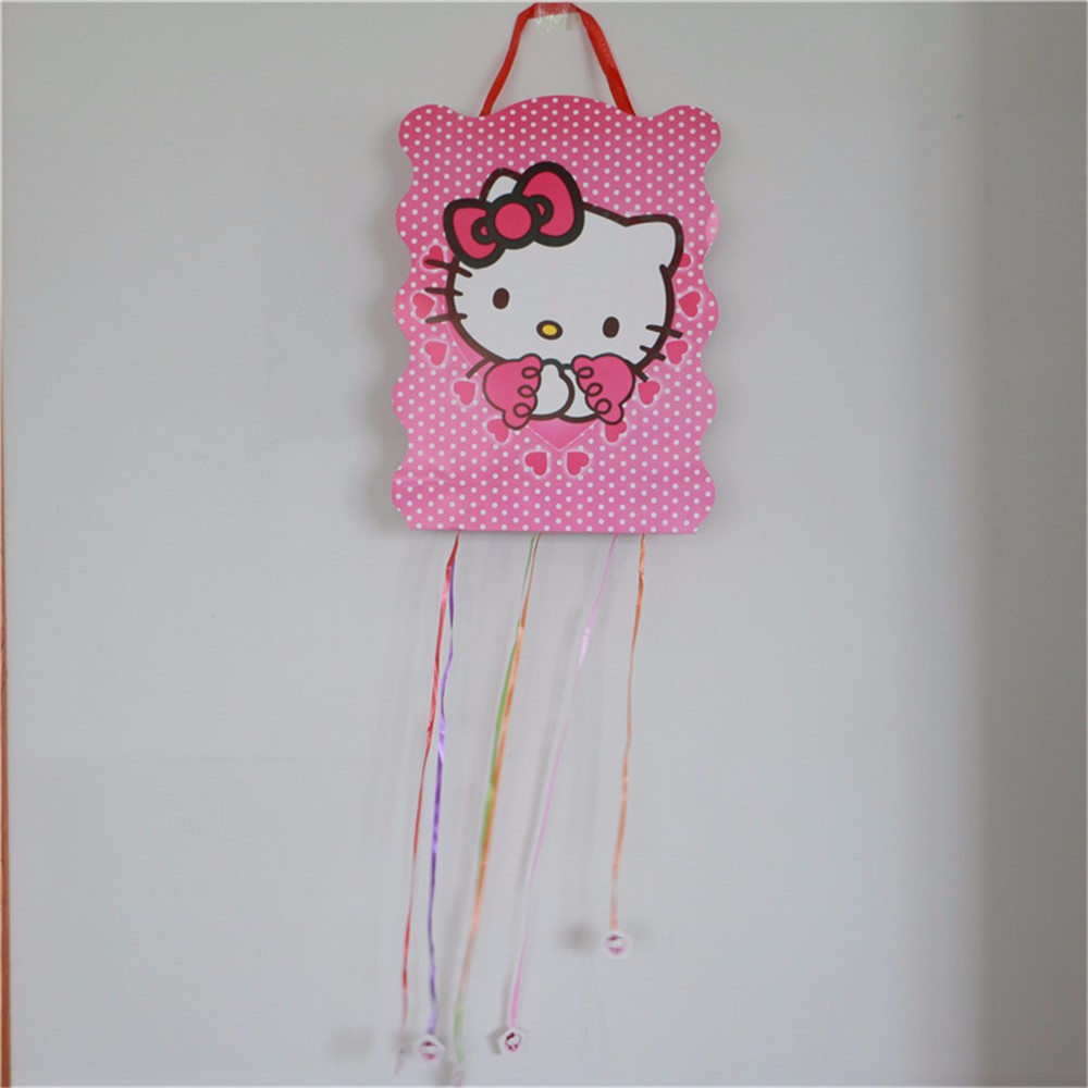 2Pcs hello kitty theme Pinata Happy Birthday Party Play Game for Boy Party decoration ch ...