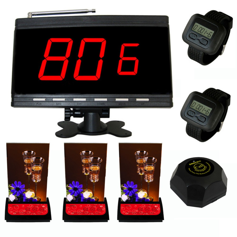 SINGCALL Wireless calling system,black host and 2 wrist watches,plus 3 multi-button pagers and 1 black bell wireless service calling system paging system for hospital welfare center 1 table button and 1 pc of wrist watch receiver