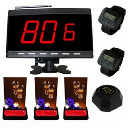SINGCALL Wireless calling system,black host and 2 wrist watches,plus 3 multi-button pagers and 1 black  bell