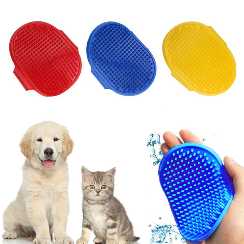 2 Color Rubber Pet Dog Grooming Brush Glove Puppy Pet Cleaning Brush Glove Comb For Dog Hair Shower Washing