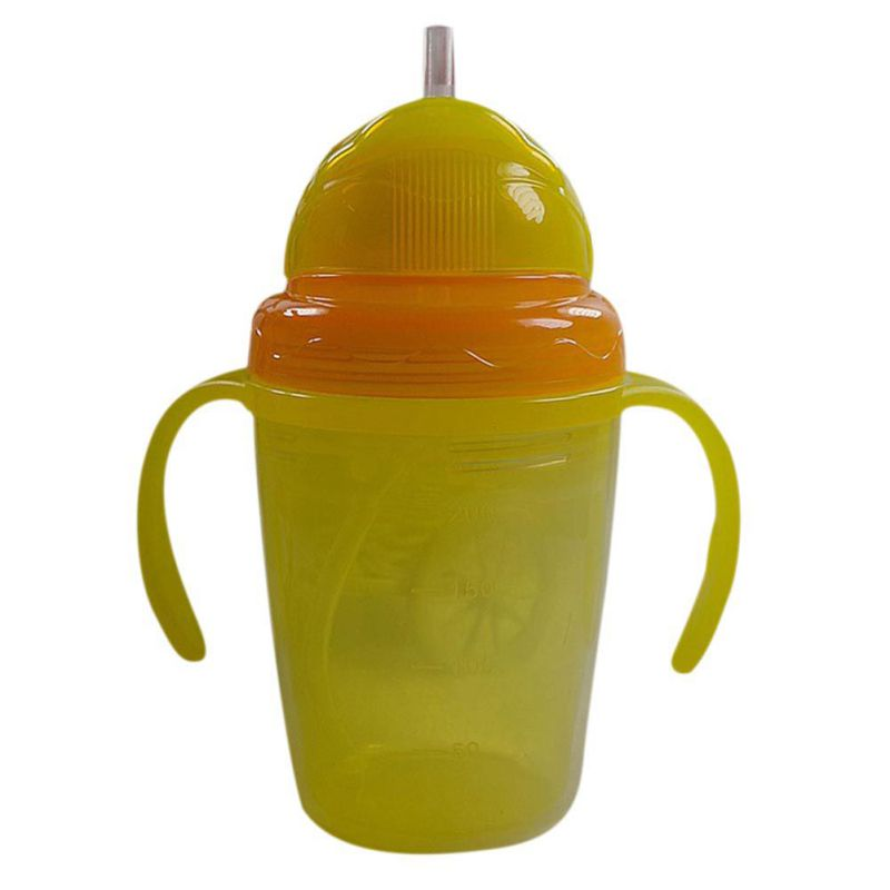 Kids Children Straw Water Bottles Double-insulated Baby Kids Bottles Cup Baby Learn Feeding Drinking Handle Silicone Cup 230ml