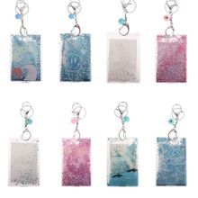 Portable Fashion ID Card Holder Sequins Bus Cover Case Keyring Keychain Gift