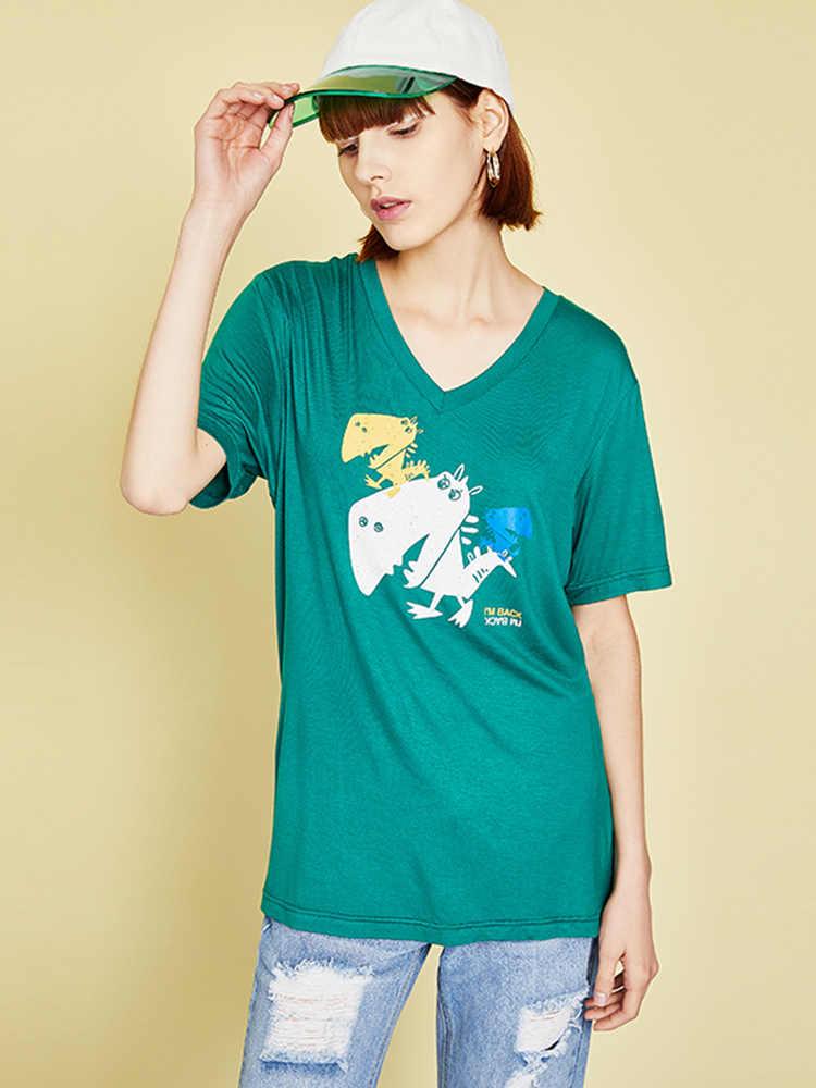 Toyouth 캐주얼 여성 코 튼 t-셔츠 만화 인쇄 v 넥 짧은 소매 여름 재미 t 셔츠 o-넥 귀여운 티 셔츠 탑스