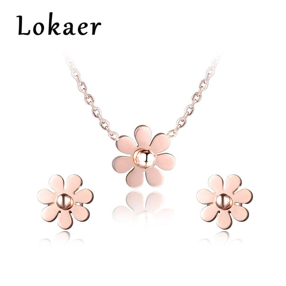 100% Wahr Lokaer 316l Edelstahl Dazzling Daisy Blume Choker Neckalce & Ohrringe Sets Rose Gold Farbe Schöne Set Schmuck Für Frauen