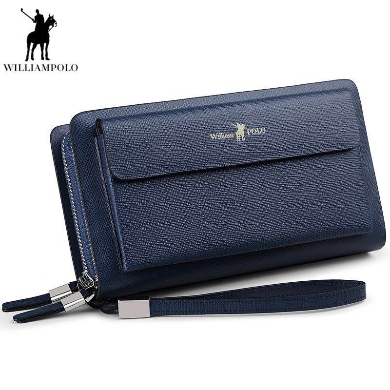 Brand Men Clutch Bag Fashion Leather Long Purse Double Zipper Business Wallet Black Blue Male Casual Handy Bag все цены