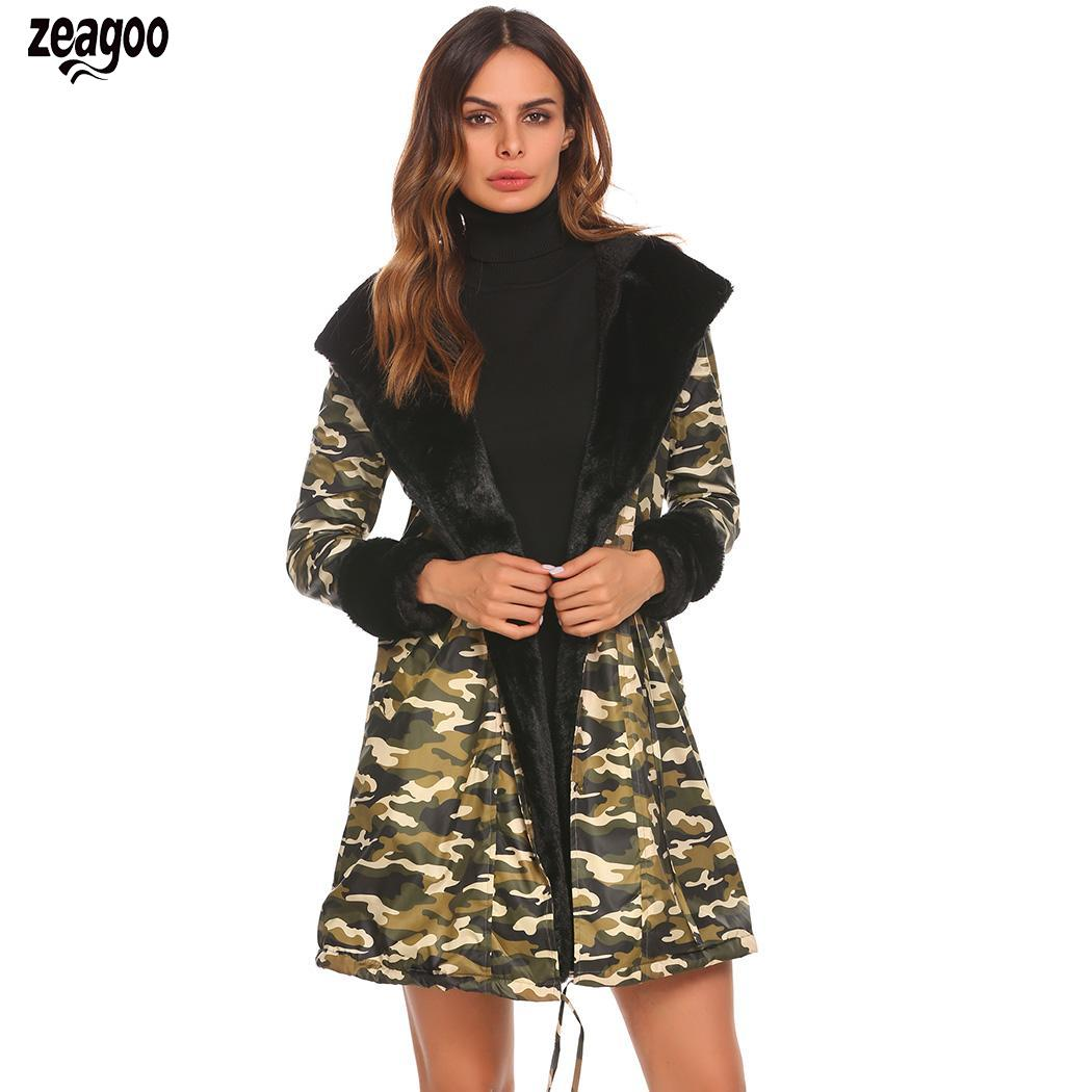 Women Casual Camouflage Hooded Long Sleeve Solid Spring, Autumn, Winter Floral Fleece Slim Waist   Parka   Coat