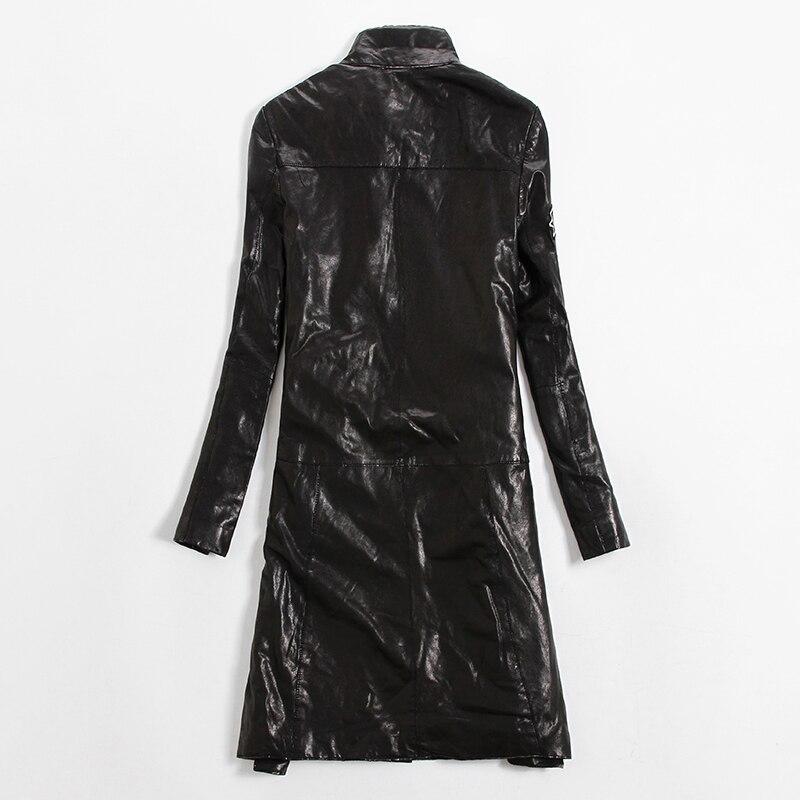 Style Automne Corée De Veste Femmes Lady Mouton Pour Long Manteau Peau Cuir Mode Noir hiver Véritable En wqaZRP