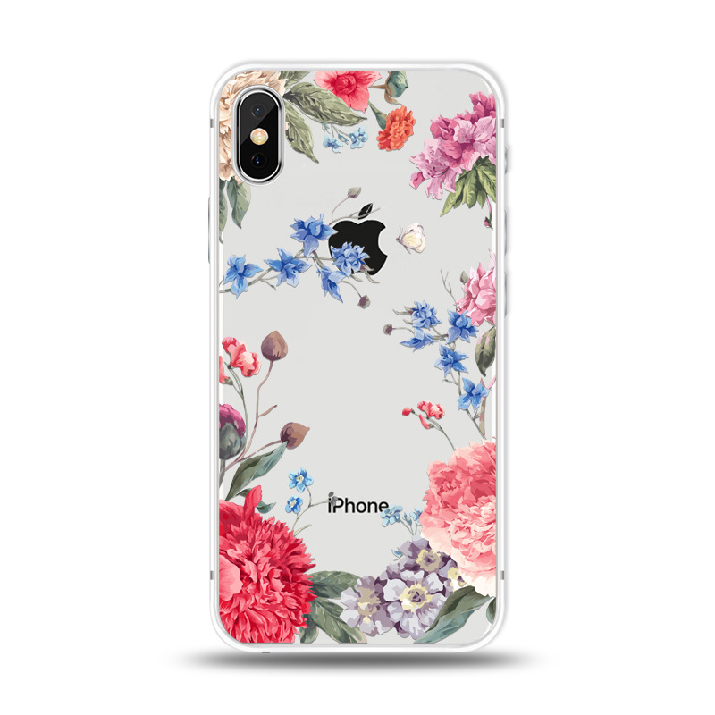 KIPX1027F_1_JONSNOW For iPhone 7 Flowers Pattern Soft Case For iPhone 6 6S 7 8 Plus Clear Back Cover for iPhone 5 5S SE Capa Coque Fundas