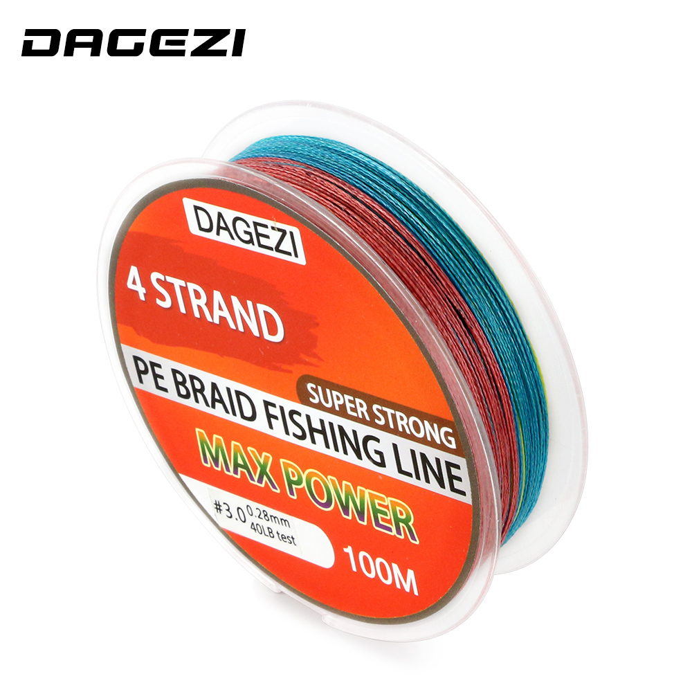 DAGEZI With Gift 4 strand 100m 10 80LB mix color fishing lines Super ...