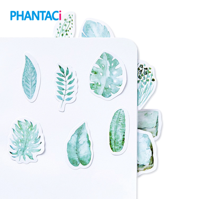 45 pcs pack creative green leaves stationery stickers decoration diy