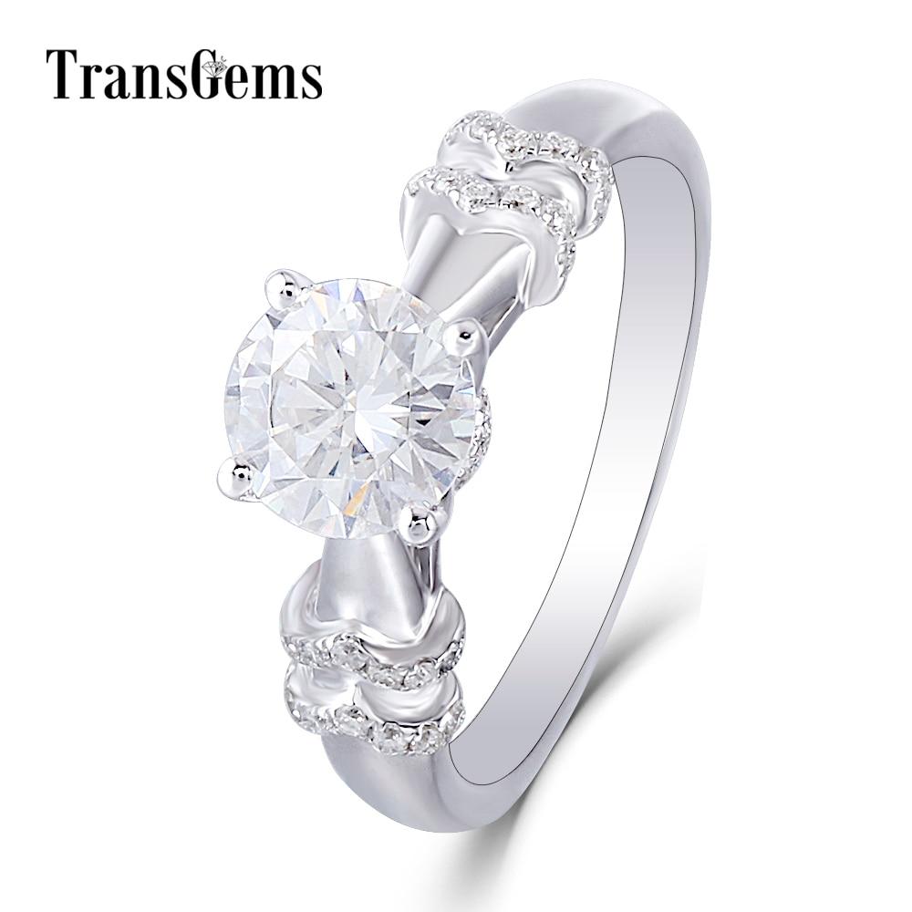 Transgems Moissanite Engagement Gold Ring for Women 14K 585 White Gold Center 2ct F Color VVS Moissanite Gemstone with Accents цены онлайн