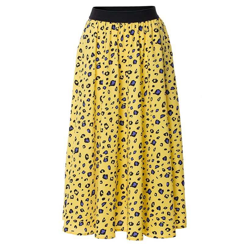 Leopard Pleated Skirt Women Boho Chic Summer 2019 Fashion Print Elastic High Waist Ladies Casual Yellow Sweet Beach Skirts Girl(China)