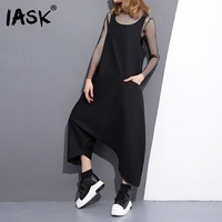 IASK 2018 New Summer Round Neck Sleeveless Black Loose Long Wide Leg Big Size Overalls