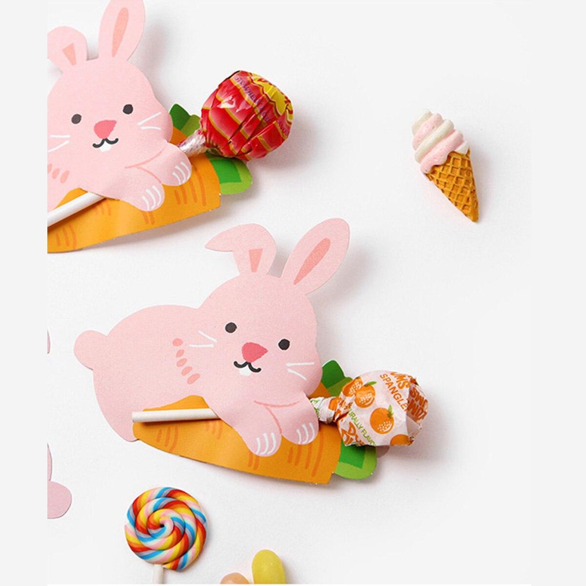 Hot Sale 50pcs Cartoon Rabbit Lollipop Candy Decorative Paper Card