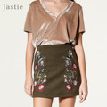 Jastie Flower Embroidery Mini Skirt Suede Pencil Skirt Vintage High Waist Short Skirts Women Boho Sexy Bodycon skirt