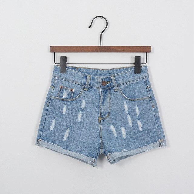 summer women fashion new waist shorts female Korean small burr hole curling denim shorts wholesale