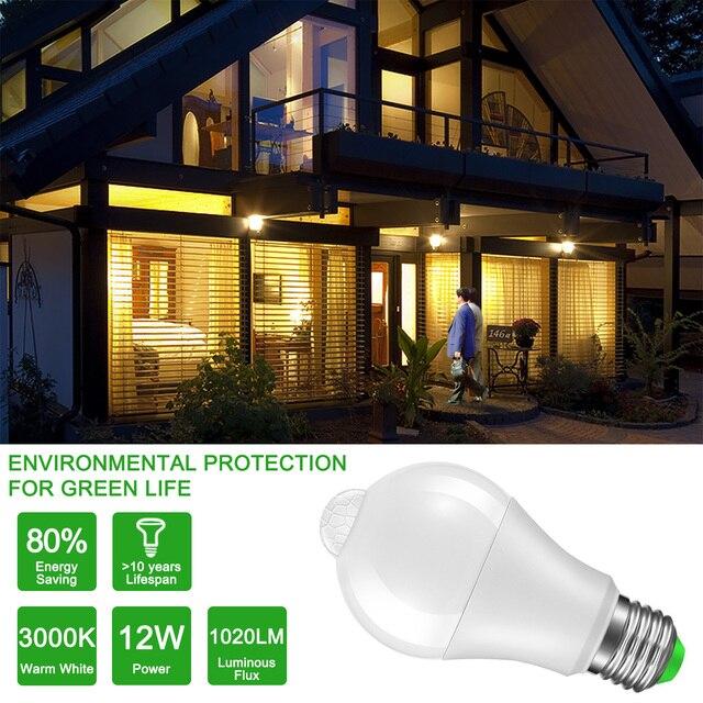 IP42 LED PIR Sensor Bulb E27 12W 18W 220V 110V LED Light Motion Sensor Lamp Led Auto Detection Lampada Home Lighting Bombillas LED Bulbs & Tubes
