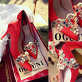 Red Wedding shoes women  crystal bridal Shoes Retro Embroidery Pearl Rhinestone 6 or 9cm  High Heels Women Pumps High Quality